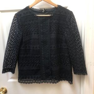 Ann Taylor Navy Lace Top